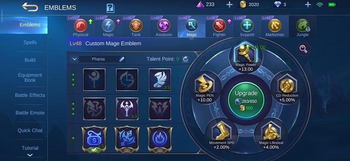 Pharsa guide Mobile Legends Emblem 1