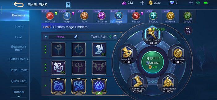 Pharsa guide Mobile Legends Emblem 2