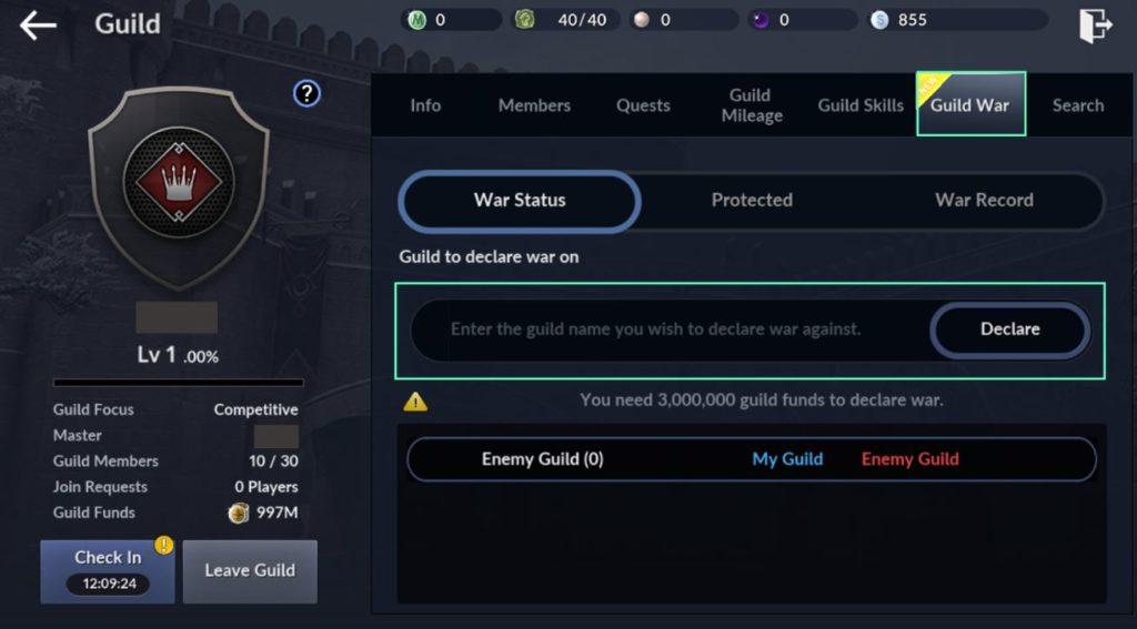 Black Desert Mobile guild wars update