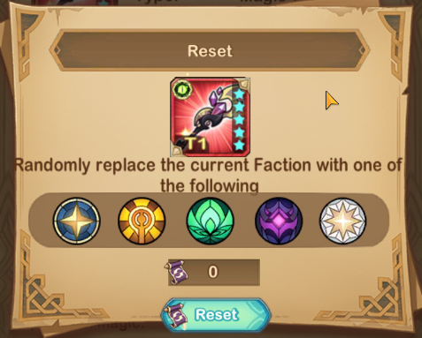 afk arena 1.32 update Equiptment Faction type reset