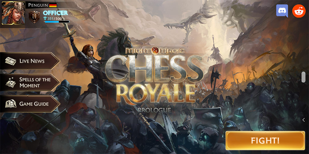 Chess Royale Home screen