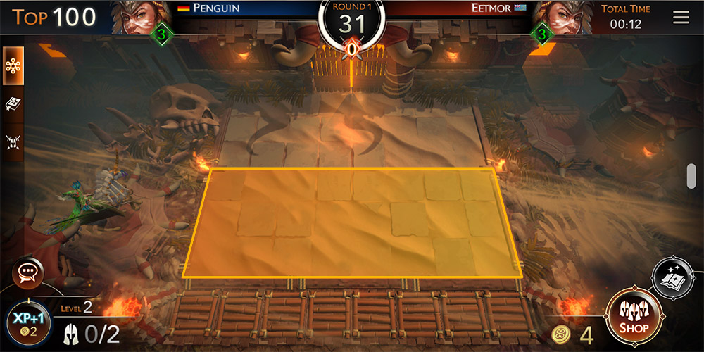 might & magic chess royale tutorial, image shows your part of the battlefield (bottom half)