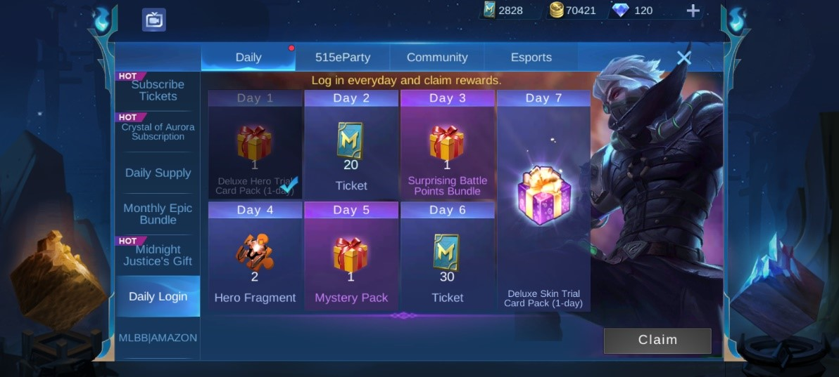 Mobile Legends Battle Points login rewards
