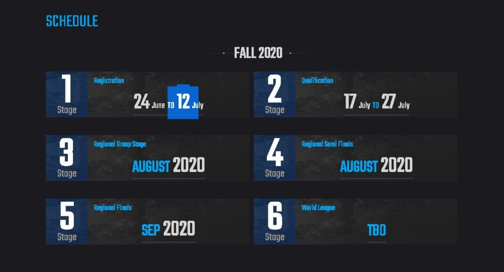 Complete schedule of PMCO 2020 Fall Split