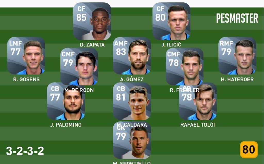 Atalanta Konami Cup Matchday squad