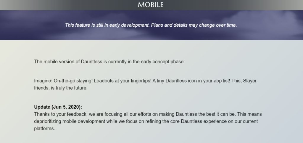 dauntless mobile, dauntless mobile development