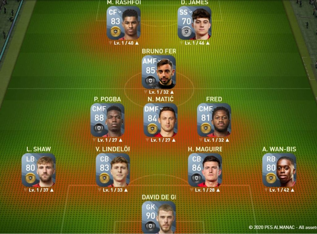 Matchday squad builders in PES Man United Starting XI updated