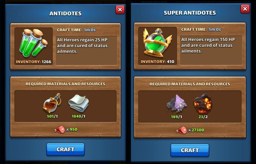 Antidotes crafted in the Forge