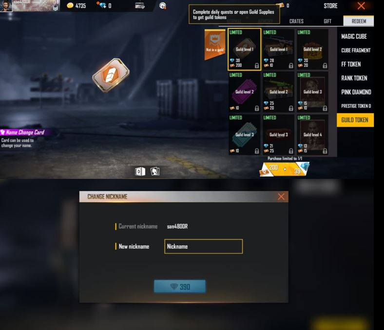 Free Fire ID change