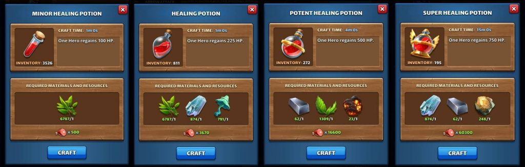 Empires & Puzzles mid-game tips and tricks healing potions