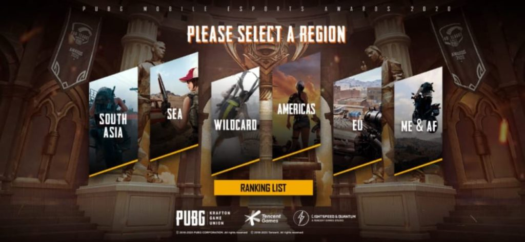 PUBG Mobile Esports Awards 2020 region select