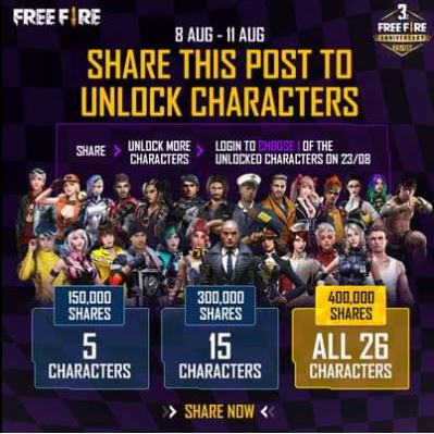 Free Fire free characters event