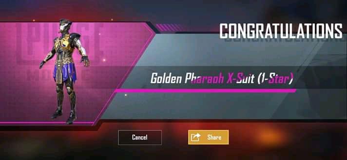 PUBG Mobile Golden Pharaoh X suit