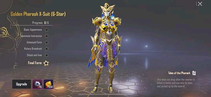 PUBG Mobile Golden Pharaoh X suit upgrade