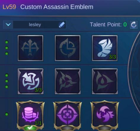 Mobile Legends Lesley Guide Assassin Emblem