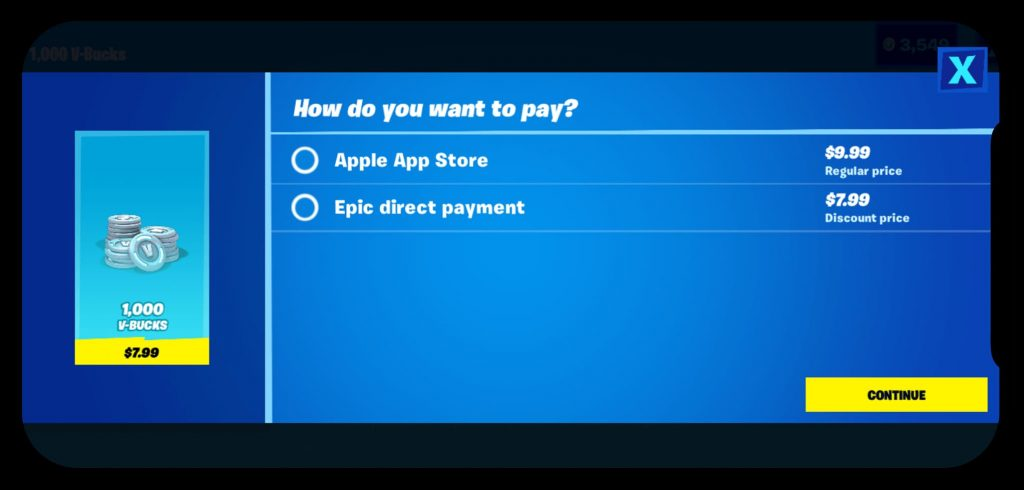Fortnite removed from App Store Epic direct payment