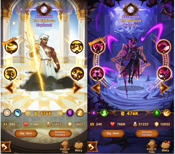 Zaphreal and Lucretia in AFK Arena