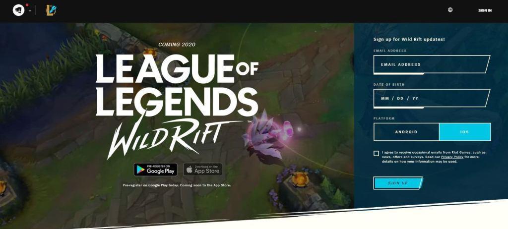 League of legends Wild Rift iOS beta