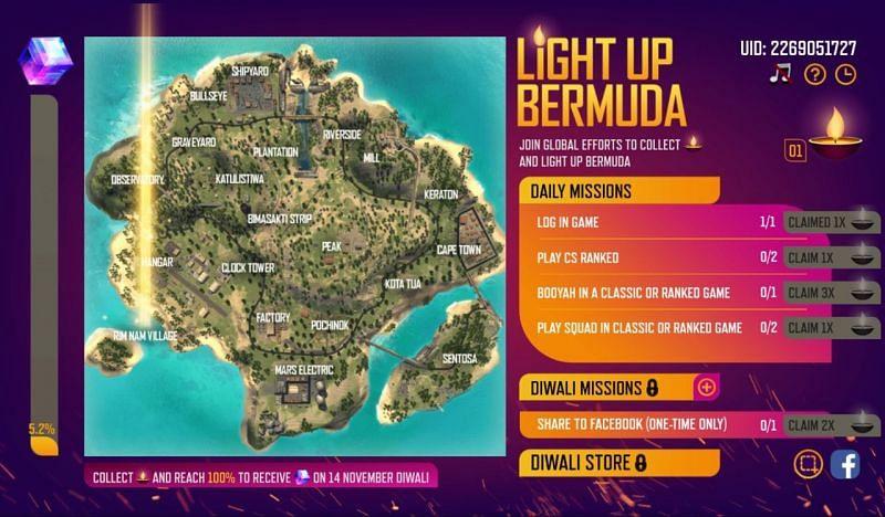 Free Fire Diwali Light up Bermuda