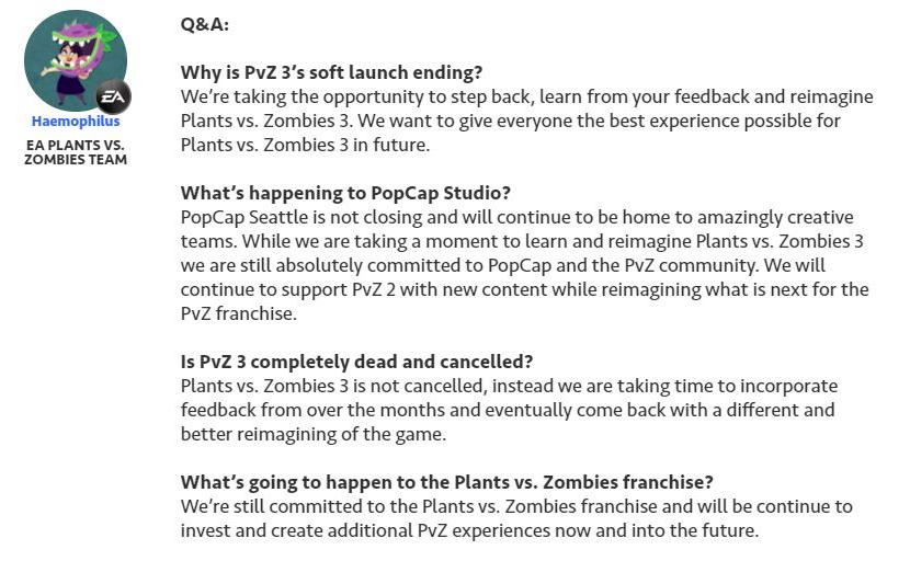 Plants vs Zombies 3 pulled off