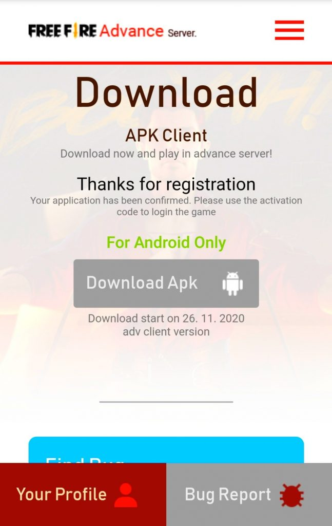 Free Fire OB25 advance server registration