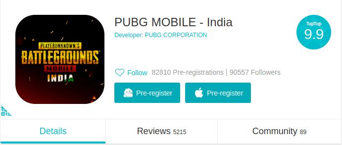 PUBG Mobile India pre-registration TapTap