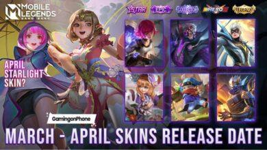 Mobile Legends March April Skins